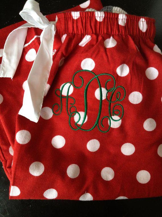 Monogrammed Christmas Pajama Pants by CharlottesStitch on Etsy