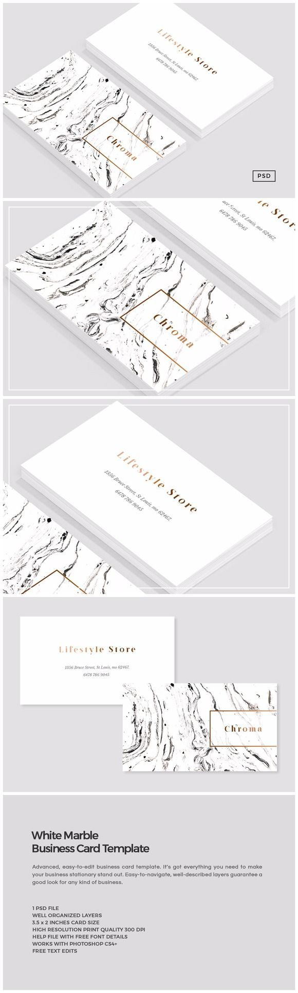 White Marble + Copper Business Card creativemarket.co... #design #art #graphicde...