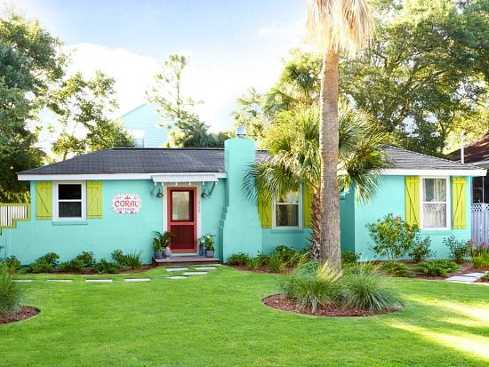 Turquoise painted beach cottage. A colorful remodeled with before and after pictures: http://beachblissliving.com/beach-cottage-remodel/