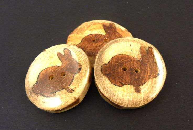 """3 EXTRA LARGE  Rustic Birch Wooden Painted Rabbit Buttons.  Hand Cut Branch Birch Buttons. Approximately 1 3/4"""" or 45 mm Round. by TimesNotForgotten on Etsy"""