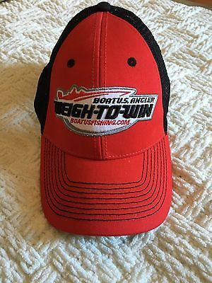 Boat USA Fishing Weigh To Win Red Truckers Hat Cap Baseball Angler Logo Mesh