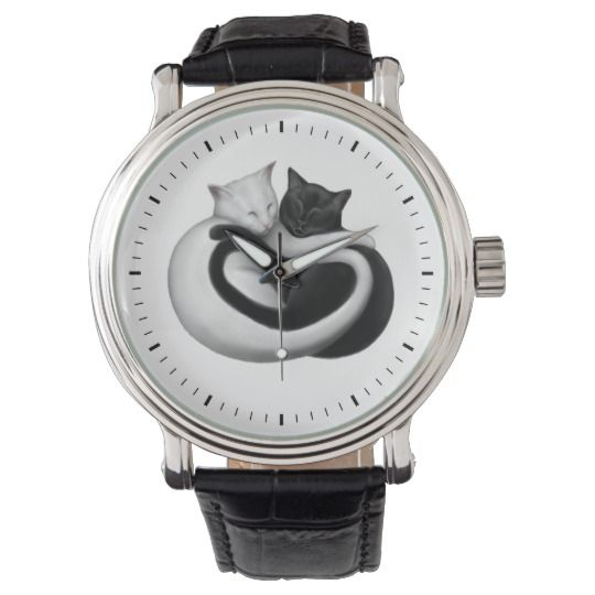 Black and White Love Cats Watch #black #white #cats #cat #blackandwhitecats #whitecat #blackcat #watch #watches #wristwatch #catwatch #blackcatwatch #fashion #style #accessories #accessory