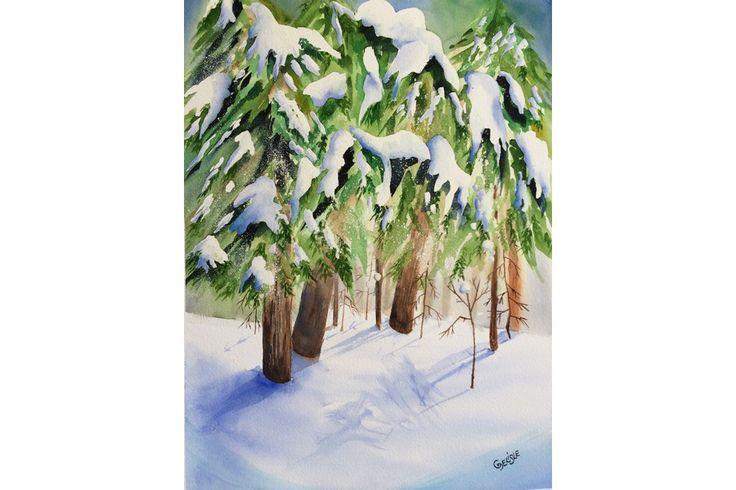 Aquarelle de l'hiver lumineux qui resplendit après une tempête de neige. Les sapins sont chargés, la neige au sol est vierge et scintillante.