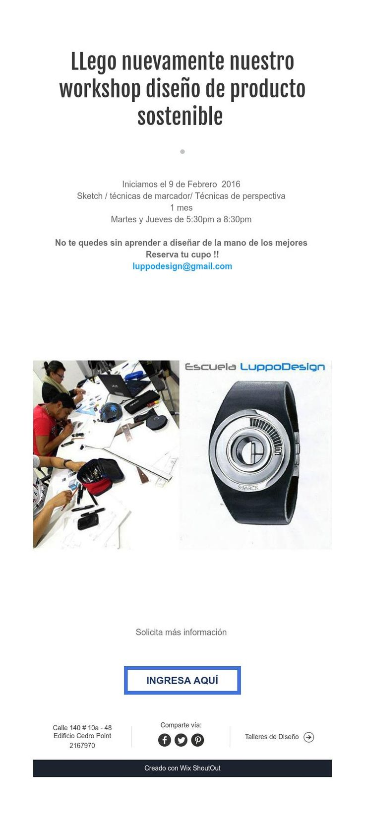 LLego nuevamente nuestro workshop diseño de producto sostenible