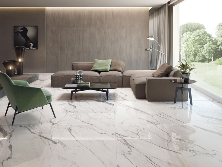 soggiorno effetto marmo in gres porcellanato #marbleEffect #Calacatta
