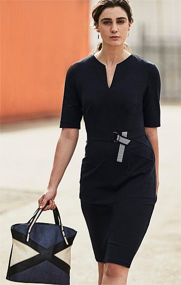 FITTED 3/4 SLEEVE STRETCH BENGALINE BELTED DRESS WITH FRONT SPLIT IN NAVY