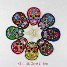 8 stks/partij 2015 Mix Kleur Bloem Schedel Skelet Borduren Iron Patches Kleding Applicaties Naaien Motif Badge DIY Kleding tas(China (Mainland))
