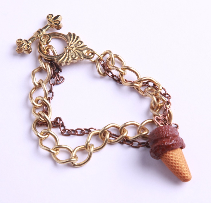 """Polymer Clay """"Chocolate Ice Cream"""" bracelet by milk+biscuit, $22"""