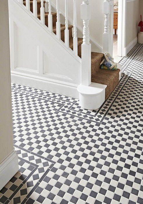 Checkerboard Tiled Hallway White Tile Floor Hallway
