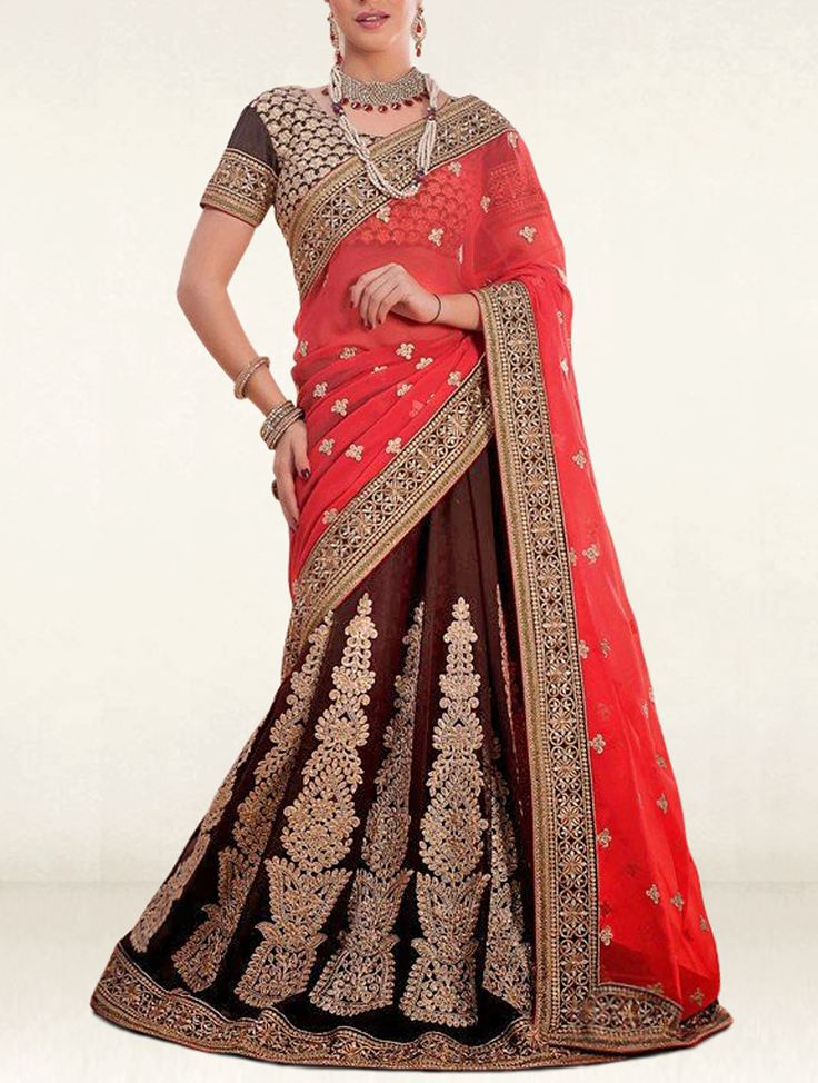 Manifest your women about town style like dressed in this red and brown shaded georgette and chiffon designer lehenga saree.