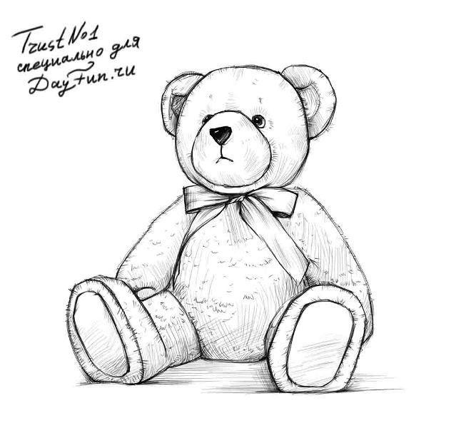 улица, рисунки плюшевого медведя поэтапно дело