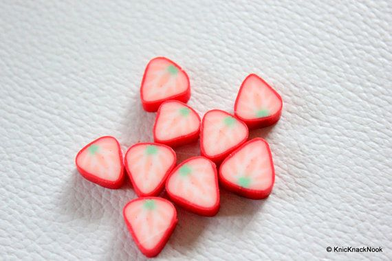 9 x Polymer Fimo Clay Pink Fruit Beads by KnicKnackNook on Etsy