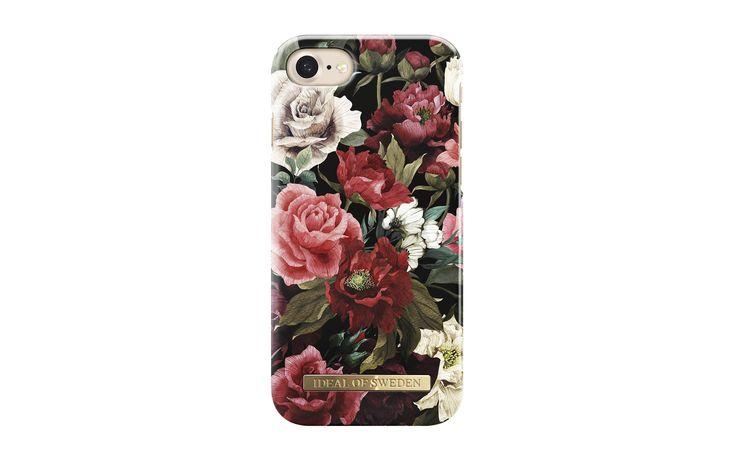 """Trendigt mobilskal till iPhone 8 Rött är den dominanta färgen denna säsong och vad kan bättre visa upp den än rosor – den mest ikoniska av alla blommor. På detta mobilskal tar rusande blommönster i sobra toner en sommartrend in i andra säsonger och dessa djupa och mörkt romantiska blomster kan väcka den mest passionerade poeten inom oss alla; """"Det som vi kalla ros…"""""""