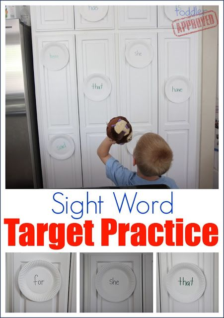sight word target practice... Would also be neat to do something similar outside. Wrote sight words with chalk on the blacktop and use s squirt gun or water balloons.