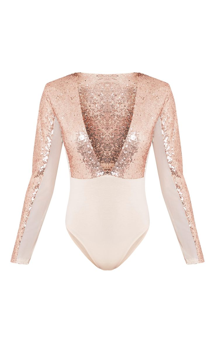 Rose Gold Sequin Plunge Mesh Thong BodysuitLook fierce this party season in this bodysuit! Featur...