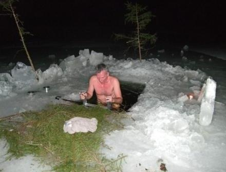 Ice dip after the sauna during the evening