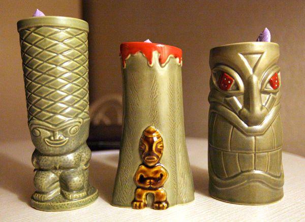 tiki mugs from Frankie's Tiki Room in Las Vegas. I love the volcano one in the center.: Tiki Room