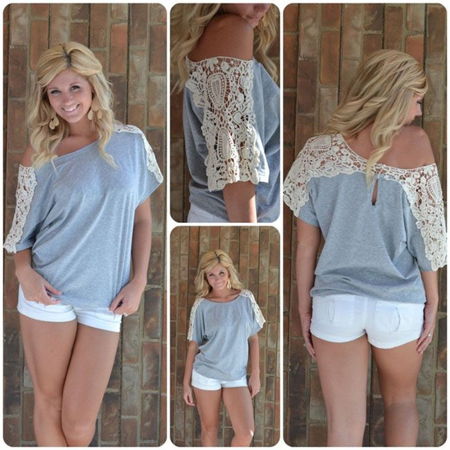 DIY t shirt Refashion Ideas With Lace Sleeves