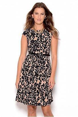 Anne Klein Belted Leopard Print Dress - Enviius