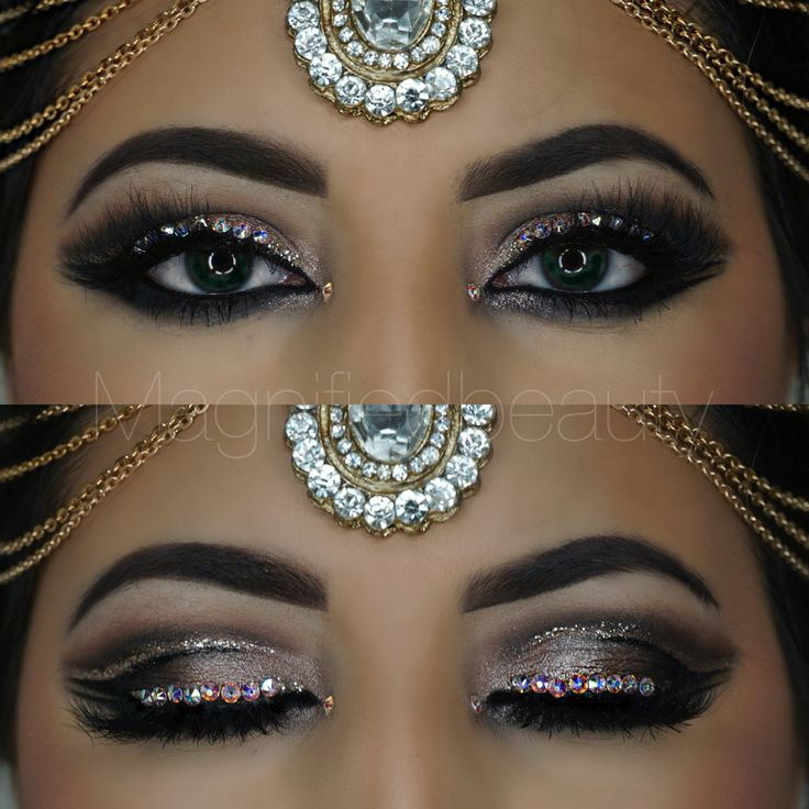 Double cut crease with rhinestones