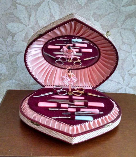 Vintage Ballerina Music Box Manicure Set Lador Swiss Movement Vanity Set 9 Pc Set Lara S