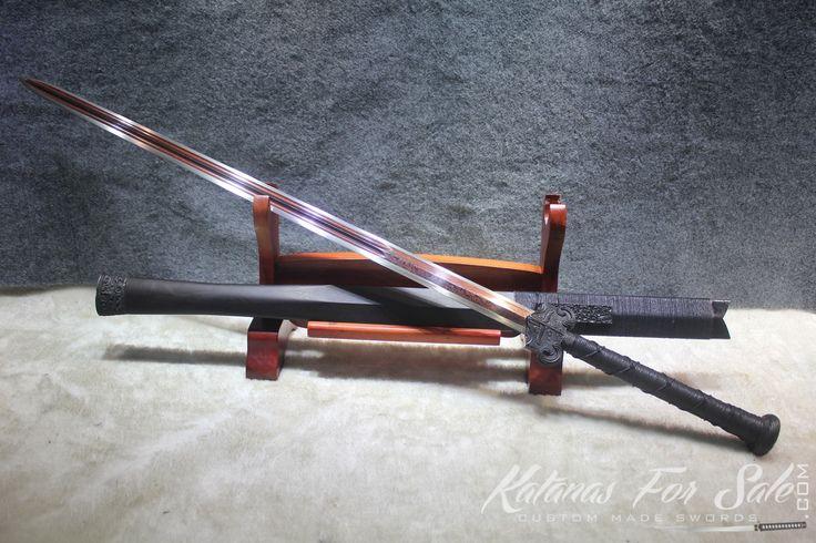 Hand Forged Black Folded 1060 - 1095 Steel Chinese Handmade Han Wu Jian Sword - Katanas For Sale