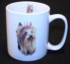 Yorkshire Terrier Coffee Mug tea Cup Puppy Dog Lover Yorkie Hair bow