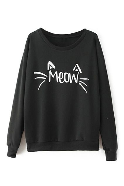 abaday | Cat Face Print Black Sweatshirt, The Latest Street Fashion