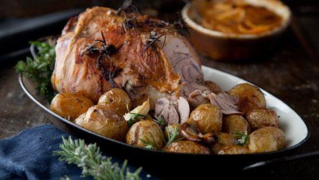 Roast Leg of Lamb with Turnip Boulangere Gratin Red Wine Reduction #Roast