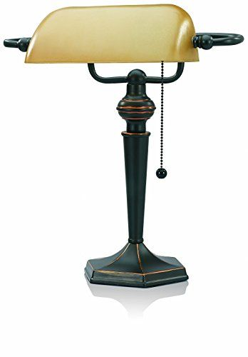 V-LIGHT Traditional Style CFL Banker's Desk Lamp with Amber Glass Shade (CAVS91045BRZ) * MORE INFO @ http://www.laminatepanel.com/store/v-light-traditional-style-cfl-bankers-desk-lamp-with-amber-glass-shade-cavs91045brz/?a=6406