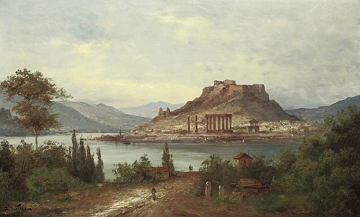 Otto Witte (German, 19th century)  Before the Acropolis  signed 'O. Witte' (lower left)