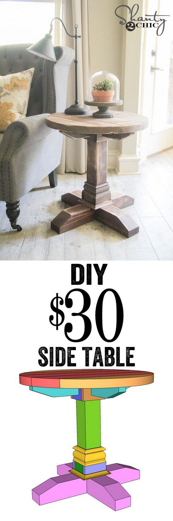DIY $30 Round Side Table