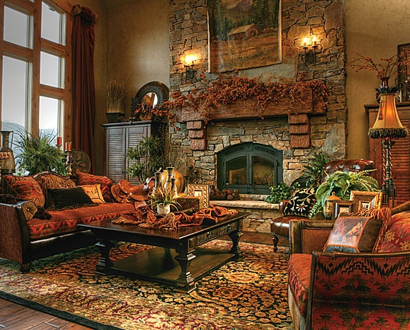 southwest sofa and chair blends perfectly in this mountain home