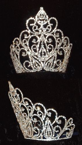 eWholesaleTiaras.com Crowns, Tiaras, Scepters, Pins, Sashes, and Cases. by Leslie's Best :: Pageant, Royalty & Bridal :: Silver & Rhodium Tiaras & Crowns :: Tiaras & Crowns over 4 inches :: Beauty Queen Crown