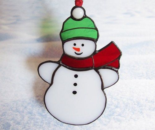 Little Snowman Stained Glass Suncatcher or Christmas Ornament. $17
