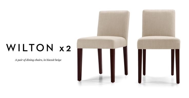 Pair of Wilton Dining Chairs in biscuit beige   made.com