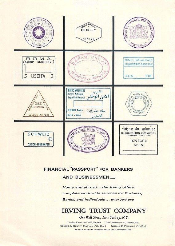 1961 Irving Trust Vintage Ad Passport Stamps | eBay