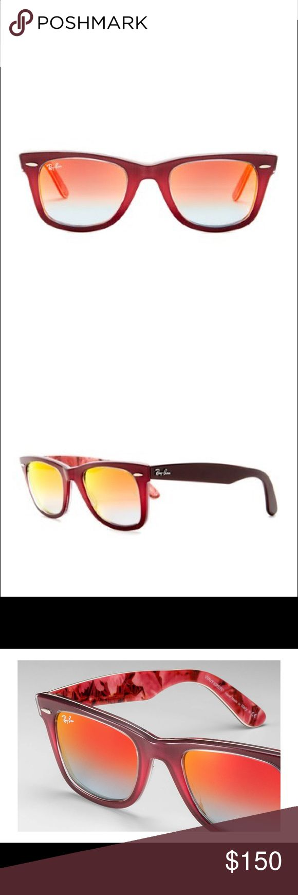 Ray-Ban Original Classic Wayfarer Sunglasses These Ray-Ban Wayfarer purple frame mirrored Sunglasses with floral inside legs will be perfect for you or will make a great gift. They are 100% authentic Ray-Ban Accessories Sunglasses