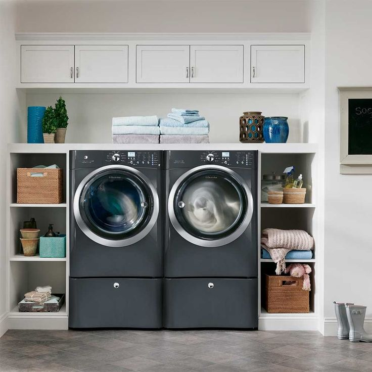 Good Looking sunbrella pillows in Laundry Room Transitional with Hair Dryer Storage next to Hidden Washer Dryer Door alongside Raised Washer And Dryer and Disguised Washer And Dryer
