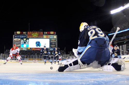 Marc-Andre Fleury stops a goal from the Caps in the 2011 Winter Classic game.