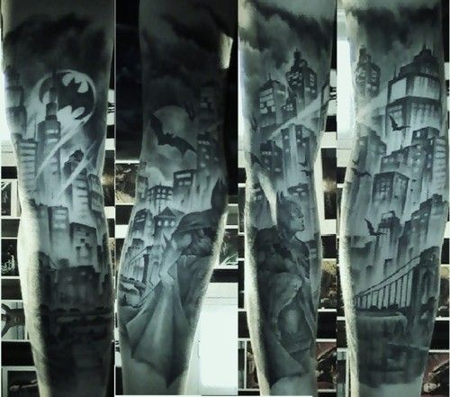 Batman/Gotham City inspired tattoo sleeve. Incredible work by Adam Tratnjek