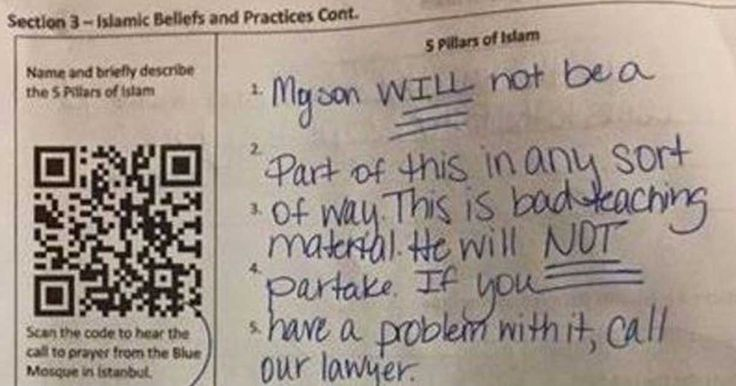 When this mom discovered that her son's homework assignment was related to learning about Islam, she didn't agree that it was good teaching material.