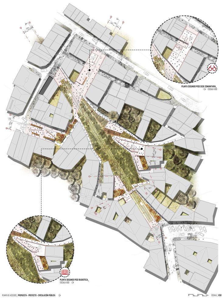 Proyecto de Título_ Rehabilitación del Ascensor Florida y su entorno como espacio público, Valparaíso - Planta de accesos primer nivel.