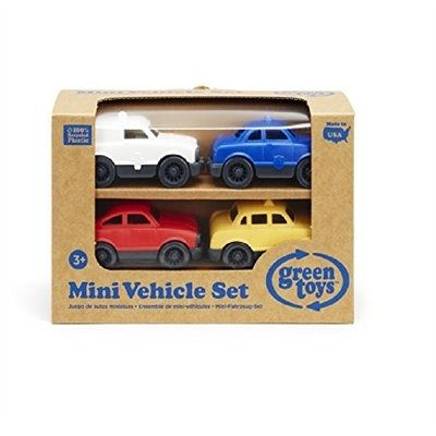 City streets, busy highways, country roads. Whether it's the Ambulance, Police Car, Taxi, or Fastback, the Green Toys™ Mini Vehicles (4-pack) are sure to stop traffic wherever little imaginations venture. These planet-pleasing automobiles are made in the USA from 100% recycled plastic milk jugs, saving energy and reducing greenhouse gas emissions. Each pint-sized car sports its own unique details, while the whole fleet features a super-eco design with no metal axles or external coatings. No…
