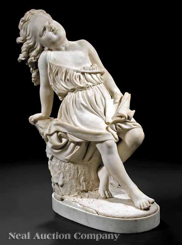 "Chauncey Bradley Ives (American/Italian, 1810-1894), ""Sans Souci"", Carrara marble sculpture"