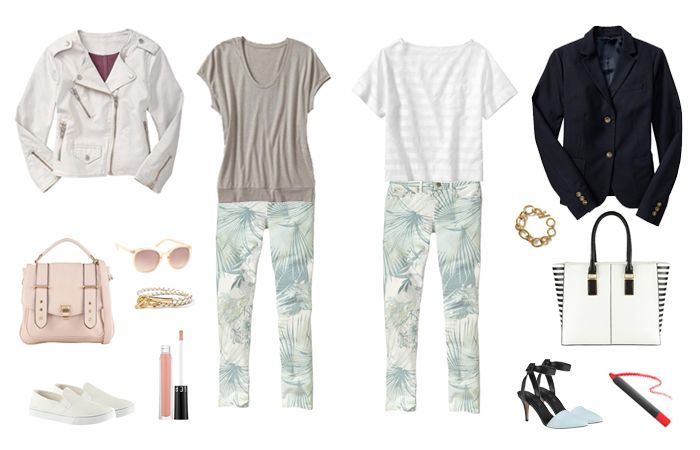 How to Wear: Printed Denim | The Gap's tropical print skinnies, styled for both work and play. PLUS: Shopping tips for choosing your perfect pair.