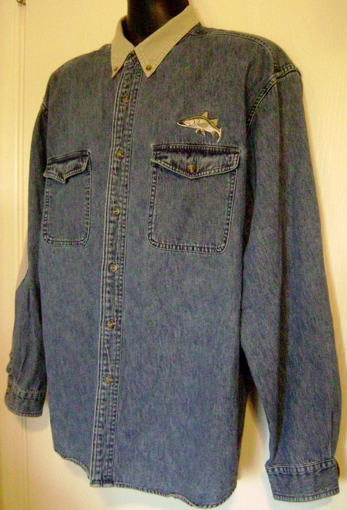 Reel legends men 39 s blue denim fishing shirt large xl for Embroidered columbia fishing shirts