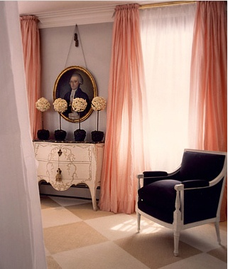 I remember moving into the first flat I had creative control over. The one thing I wanted in the room was long floaty curtains and set about making them. These coral voile curtains are so delightful and doubling up makes curtains look my dramatic. The detailing of adding the four Buxus plants gives the room high-end living and the french dresser is very stylish. Keep the room simple and add some vintage art to pull it all together and then sit back and enjoy. x