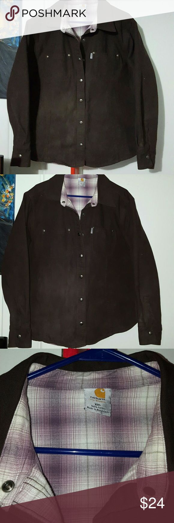 Women's Carhartt heavy work shirt Chocolate brown Carhartt work shirt with purple plaid flannel interior Carhartt Jackets & Coats