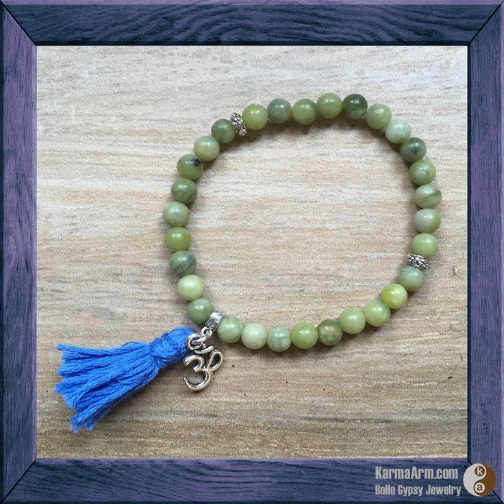 OM Yoga Mala Bracelet: Jade with 5th Chakra Blue Tassel & Tibetan Silver Flower Rondelles